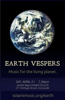 Earth Vespers - James Bay United Church, Victoria, Apr 21<sup>st</sup> 2018 (Event)