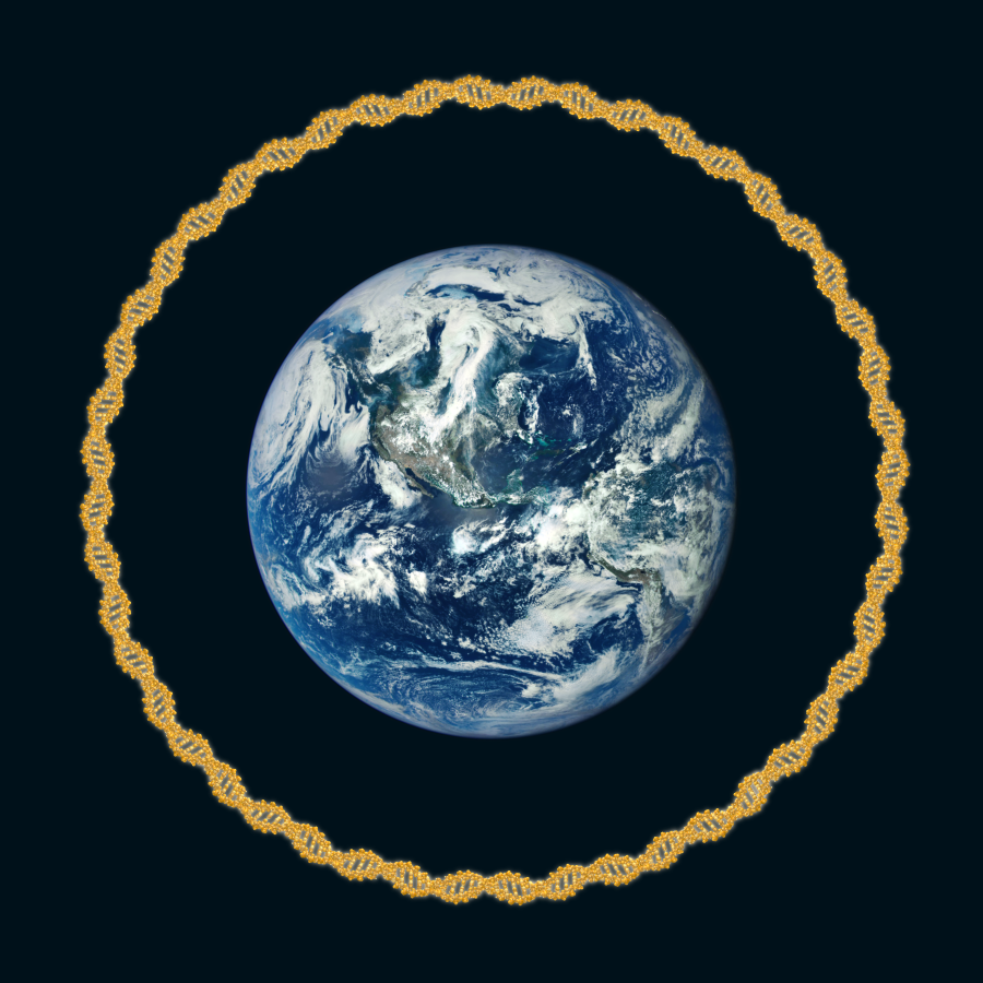 Earth with DNA wreath