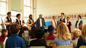 Solaris playing for a kindergarten class at Meher School in California.